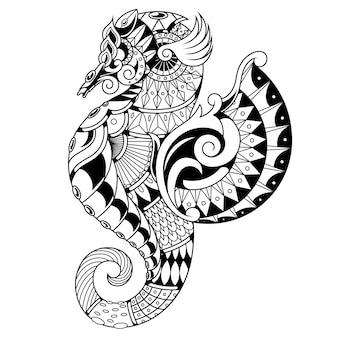 Ilustración de caballito de mar en blanco y negro