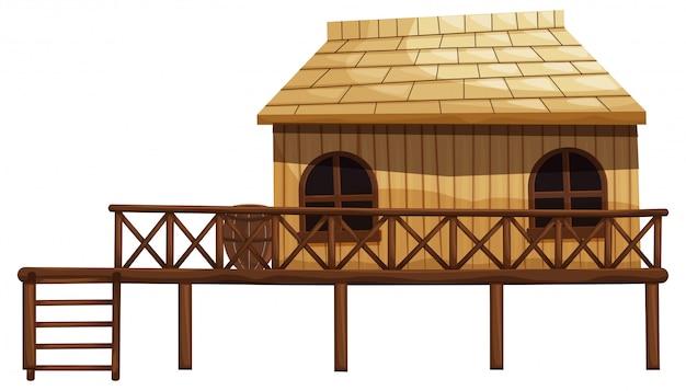 Ilustración de cabaña de madera con escalera