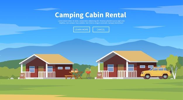Ilustración de cabañas de camping