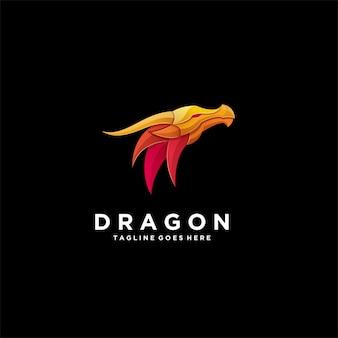 Ilustración cabeza abstracta con dragón oro