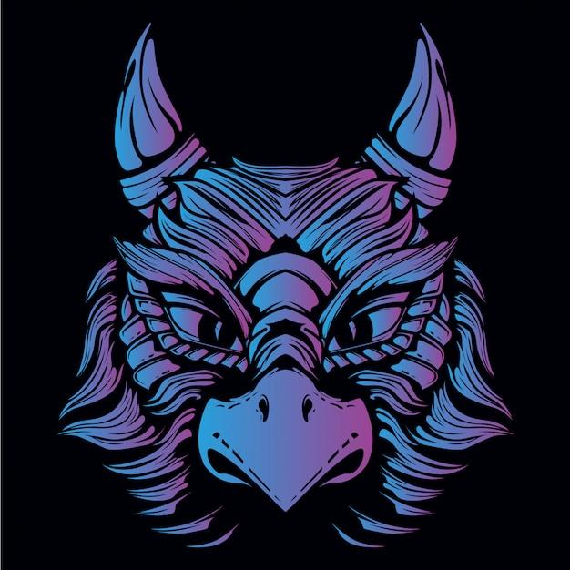 Ilustración de cabeza de águila azul y púrpura