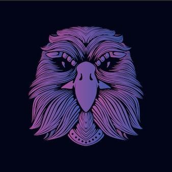 Ilustración de cabeza de águila púrpura