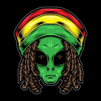 Ilustración de cabeza alienígena reggae