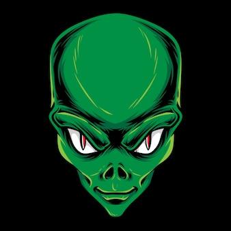 Ilustración de cabeza alienígena verde