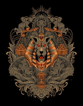 Ilustración de cabeza de anubis con adorno grabado