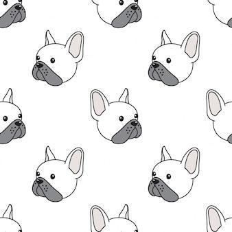 Ilustración de cabeza de bulldog francés de patrones sin fisuras de perro