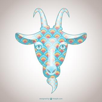 Ilustración cabeza de cabra