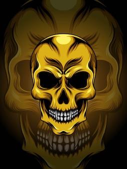 Ilustración de cabeza de calavera de oro