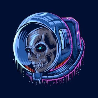 Ilustración de cabeza de cráneo de astronauta