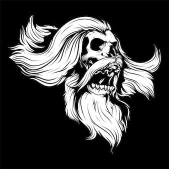 Ilustración de cabeza de cráneo barbudo blanco y negro