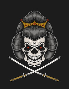 Ilustración cabeza de cráneo de geisha con espada de dos katanas