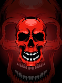 Ilustración de cabeza de cráneo rojo