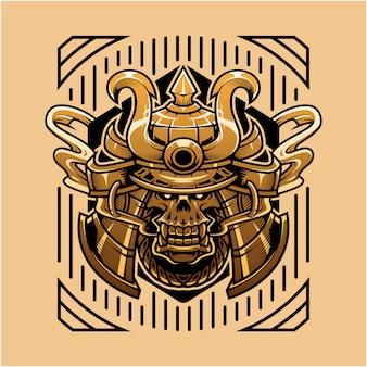 Ilustración de cabeza de cráneo de samurai