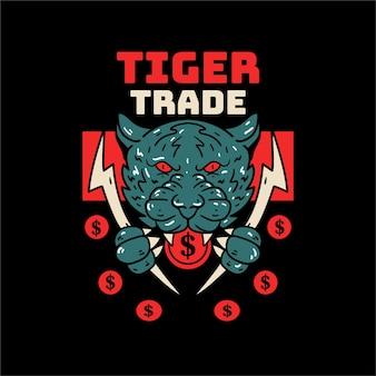 Ilustración de cabeza de cráneo de tigre