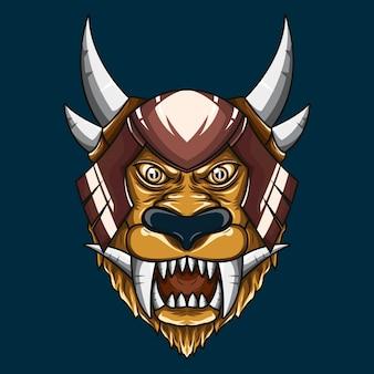 Ilustración de cabeza de demonio de león mítico
