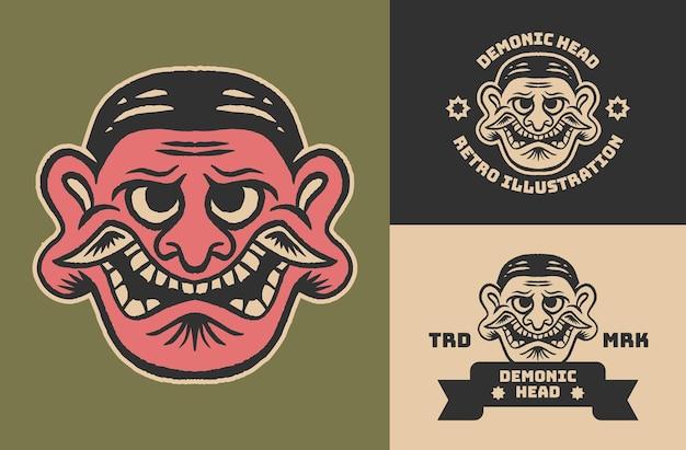 Ilustración de cabeza de demonio retro vintage