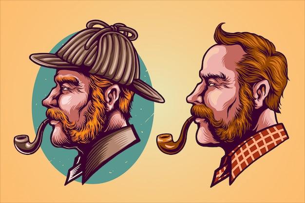 Ilustración de la cabeza de detective
