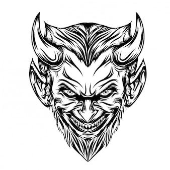 Ilustración de cabeza de diablo con barba larga y sonrisa de miedo