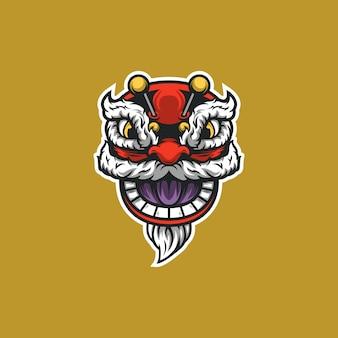 Ilustración de cabeza de dragón de año nuevo chino