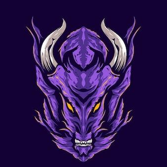 Ilustración de cabeza de dragón enojado