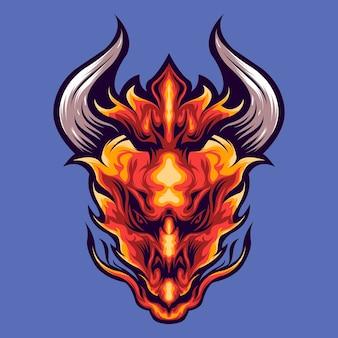 Ilustración de cabeza de dragón de fuego