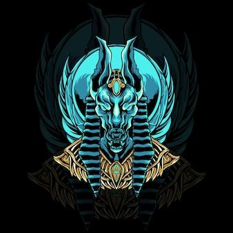 Ilustración de cabeza de egipto anubios