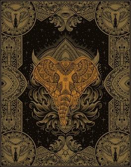 Ilustración cabeza de elefante con estilo de adorno de mandala vintage