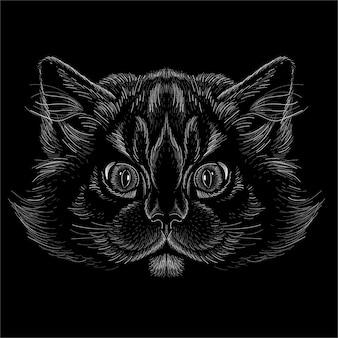 Ilustración de cabeza de gato
