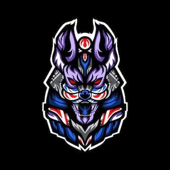 Ilustración de cabeza de guerrero anubis
