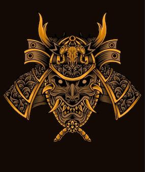 Ilustración cabeza de guerreros samurai