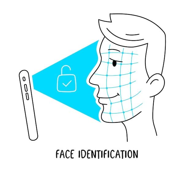 Ilustración de cabeza humana y nuevo teléfono móvil con cara.