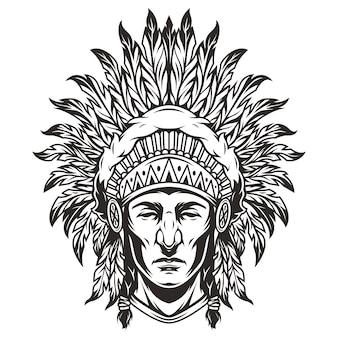 Ilustración de cabeza jefe indio monocromo vintage
