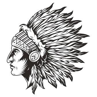 Ilustración de la cabeza del jefe indio nativo americano