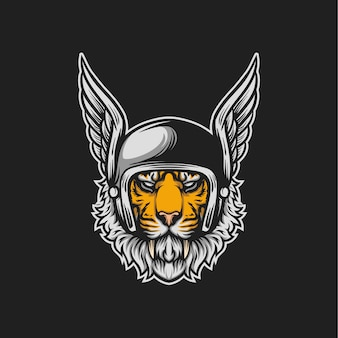 Ilustración de cabeza de jinete de tigre