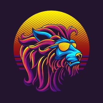 Ilustración de cabeza de león de los 80