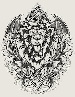 Ilustración cabeza de león con adorno de grabado vintage