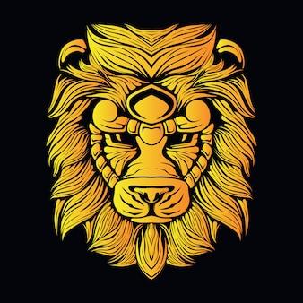 Ilustración de cabeza de león amarillo