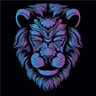 Ilustración de cabeza de león azul y púrpura