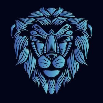 Ilustración de cabeza de león azul