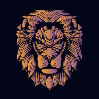 Ilustración de cabeza de león naranja