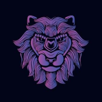 Ilustración de cabeza de león púrpura