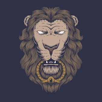Ilustración de cabeza de león