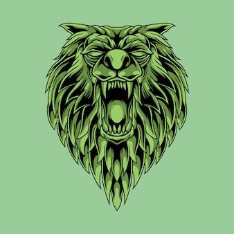 Ilustración de cabeza de lobo asesino verde