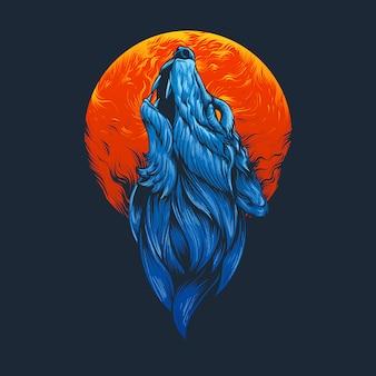 Ilustración de cabeza de lobo azul