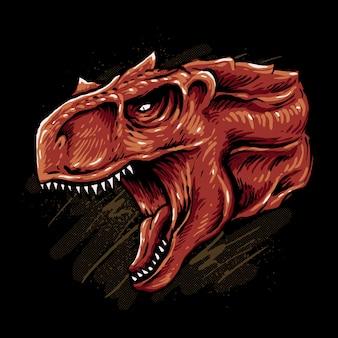 Ilustración de cabeza de lobo cibernético