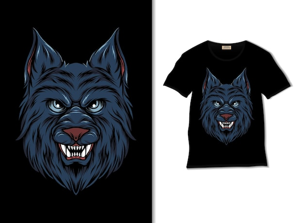 Ilustración de cabeza de lobo con diseño de camiseta