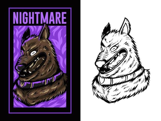 Ilustración de cabeza de lobo con fondo