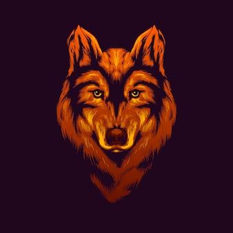 Ilustración de cabeza de lobo de oro