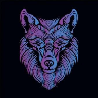 Ilustración de cabeza de lobo púrpura