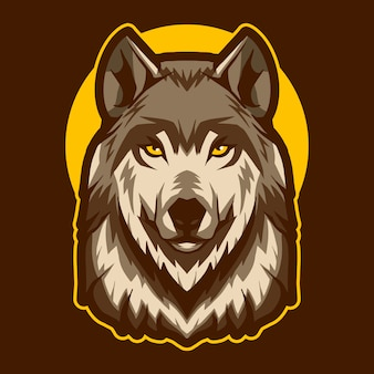 Ilustración de cabeza de lobo sobre la luna